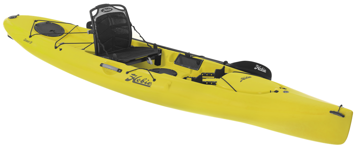 Quest 13   The Quest 13 is Hobie's swiftest solo paddle kayak, with a sleek, swell-eating stride. It has the sea legs for light touring, and excels for fishing.