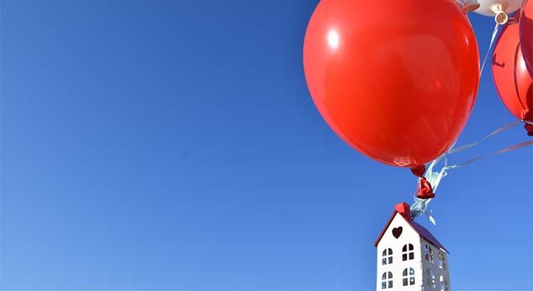 Red balloon and sky