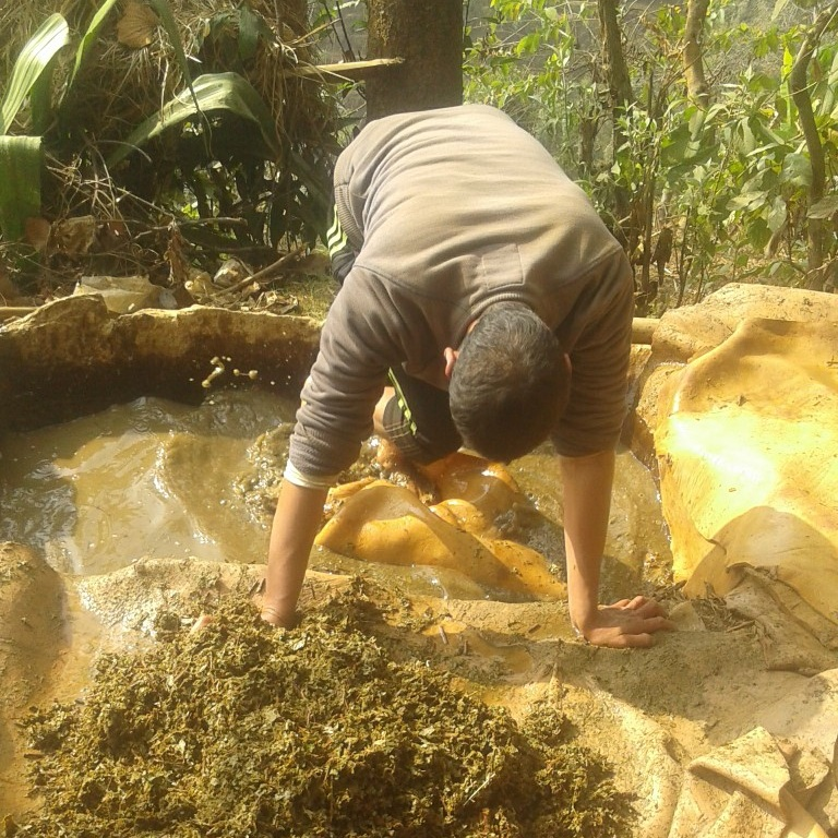 Leather is cured using herbs in lime pits