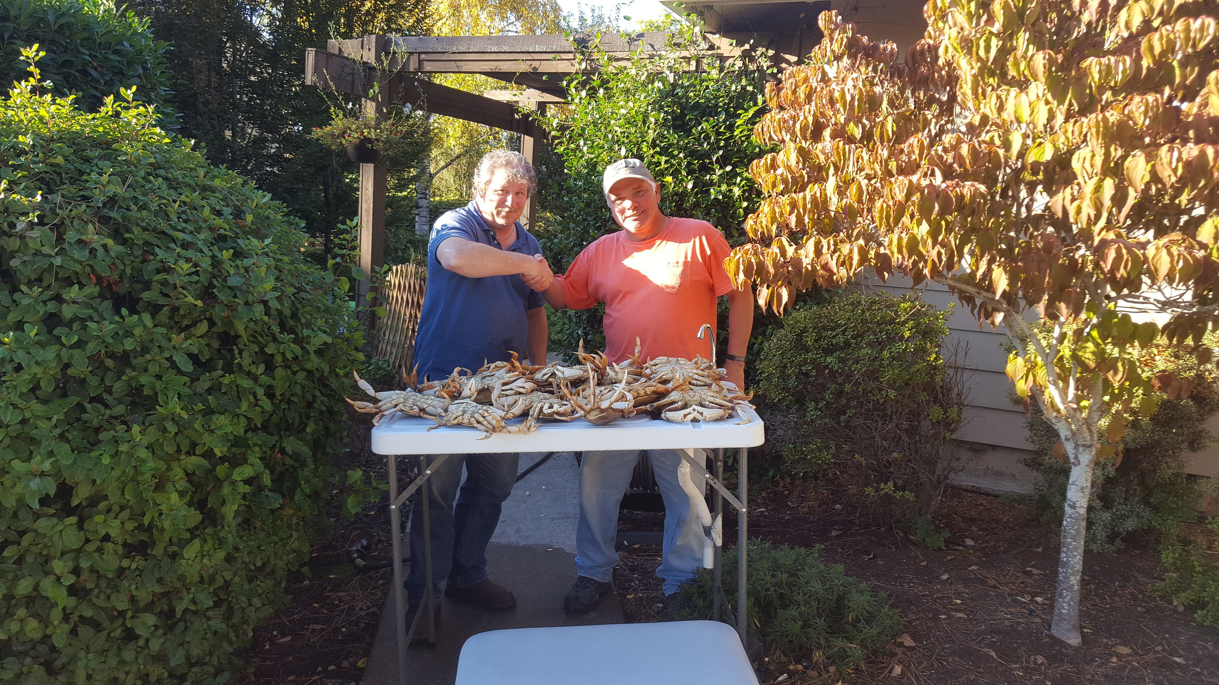Tim and Glen with two limits, twenty four, dungeness crab