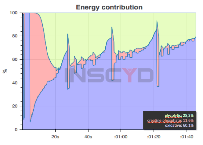 Fig 3: Energy contribution of an Olympic champion during a 200m freestyle race.