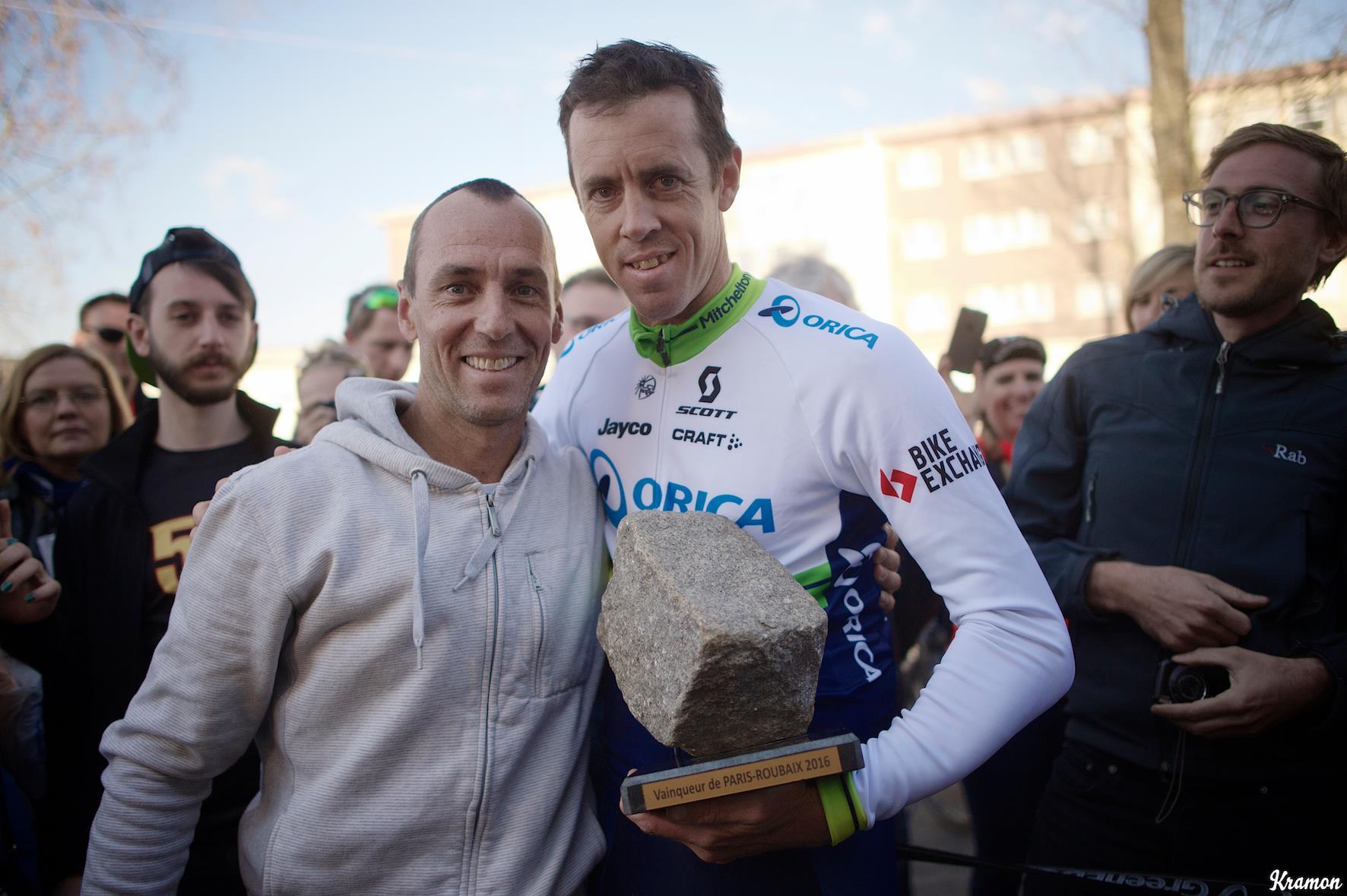 Kevin Poulton with Paris-Roubaix Winner Mathew Hayman