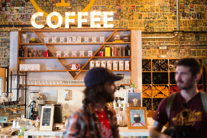 The Modern Times taproom in the Point Loma section of San Diego set aside a section for coffee. It opens at 8 a.m. daily and sells flights of cold-brew and pour-over coffee made with beans that it ages in rum barrels. Credit: Tara Pixley for  The New York Times