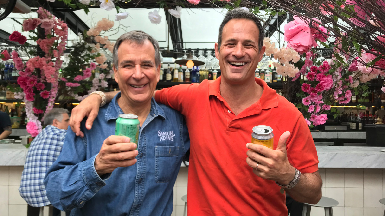 Jim Koch (left) and Sam Calagione at Eataly in New York City.