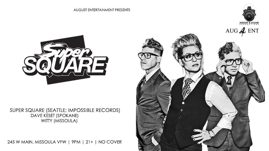 Facebook event header for  Super Square  and August Entertainment.