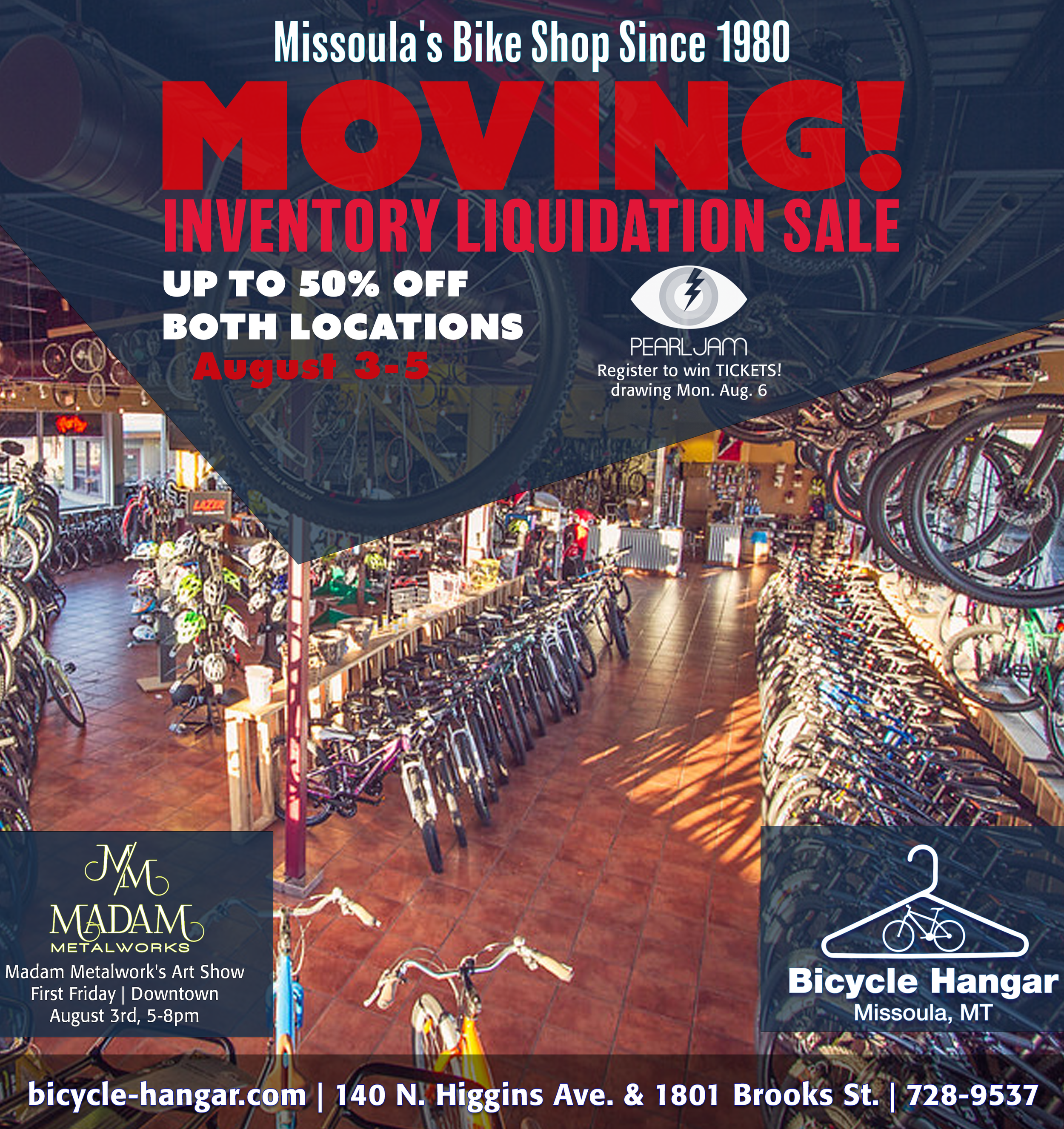 Full page ad in the  Missoulian  and Missoula Independent.  www.bicycle-hangar.com