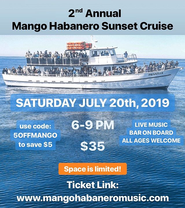 Last year we wanted a bigger boat, so we got one! Tickets are now for sale for our 2nd Annual sunset cruise on JULY 20th!  Reserve your ticket before they sell out! 🍻🛥⚓️🌅 . . . #mangohabanero #mangohabaneromusic #sunsetcruise #2ndannual #livemusic #boat #boatgig #missionbay #sandiego #cruisesd #getonboard #fun #sandiegomusic #sandiegoevents #cruisesandiego #cruise #boozecruise #oceanbeach #california #reggae #rock #alternative #funk #original
