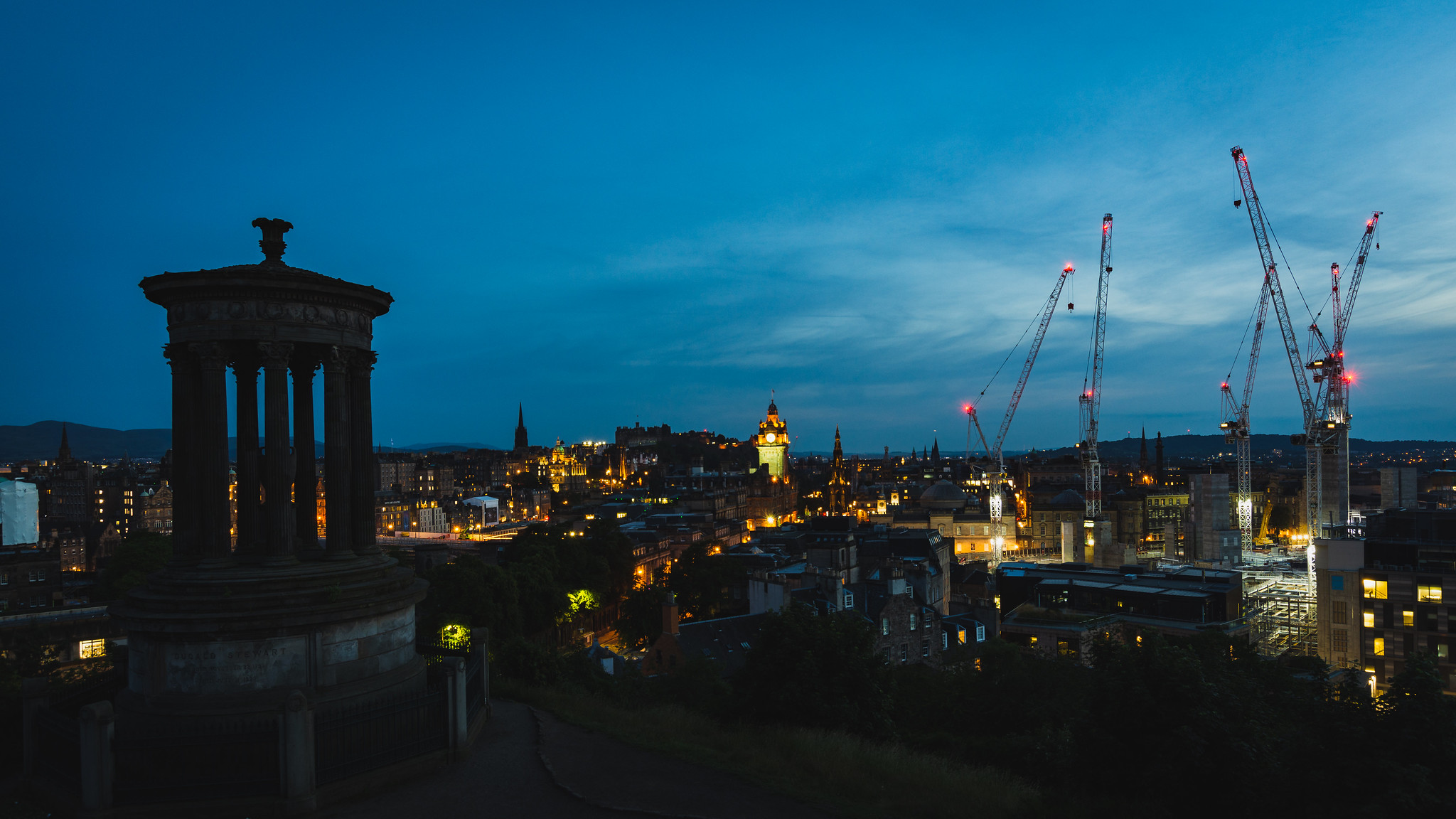 Edinburgh at night Calton Hill.
