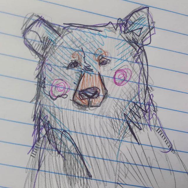 Bear doodles at the 9-5.  #workdaydoodles #doodle #beardoodle #bear #scribbles