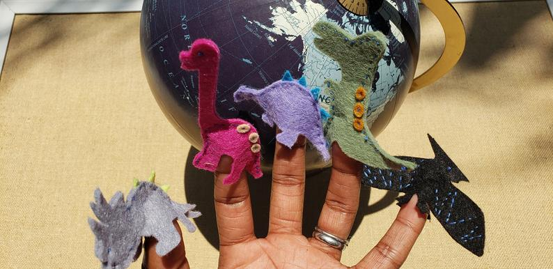 THIS MONTH'S NEW PUPPETS:5 LIL' DINOS - - Click Photo to Purchase on Etsy(PlaysWithPuppets)