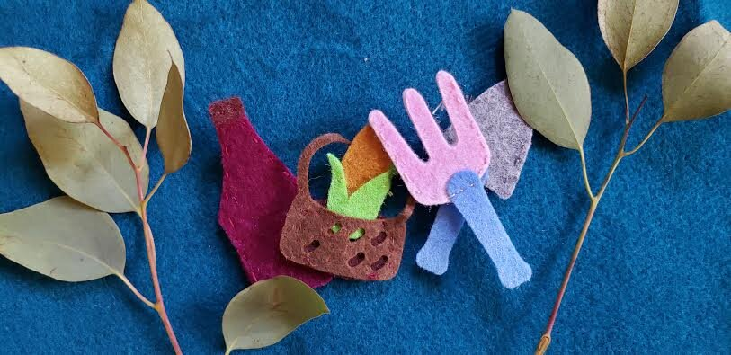 THIS MONTH'S NEW PUPPETS: Garden Harvest Picnic - - Click Photo to Purchase on Etsy(PlaysWithPuppets)