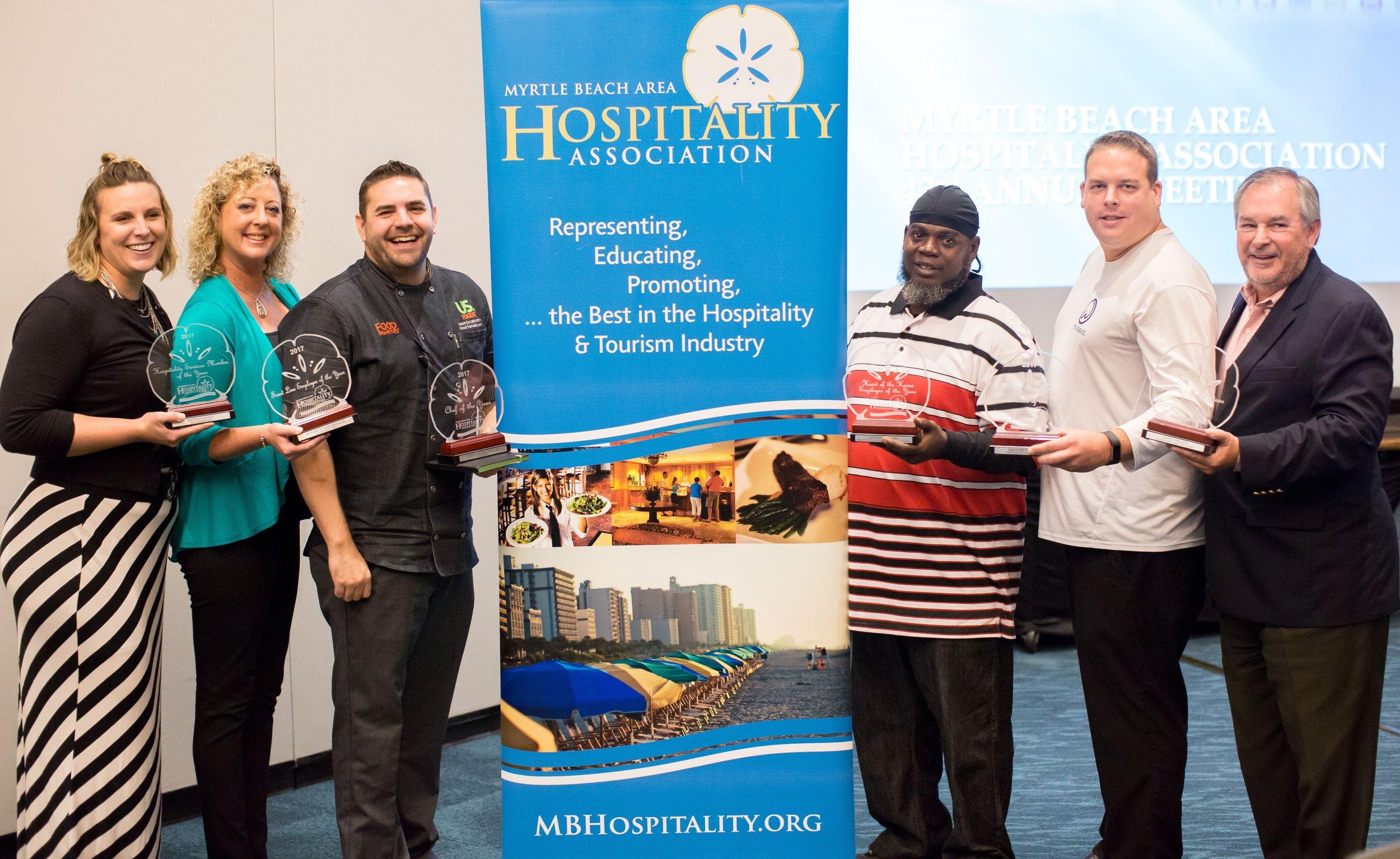 Congratulations to the 2017 Hospitality Industry Award winners: Katelyn Guild, Maribeth Lamuraglia, Jason Scarborough, Anthony Romeo, Gregory Pranzo and David Nelson.