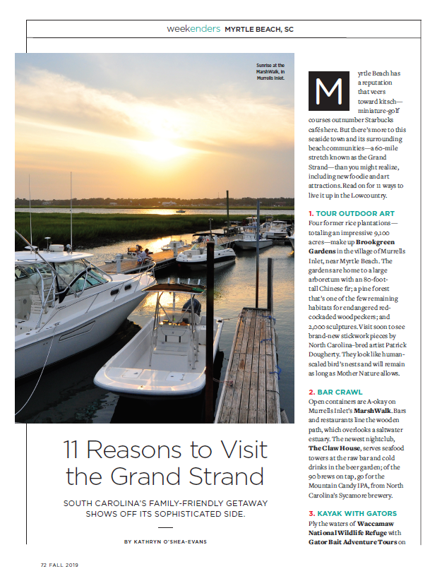 11 Reasons to Visit the Grand Strand - Endless Vacation, Fall 2019