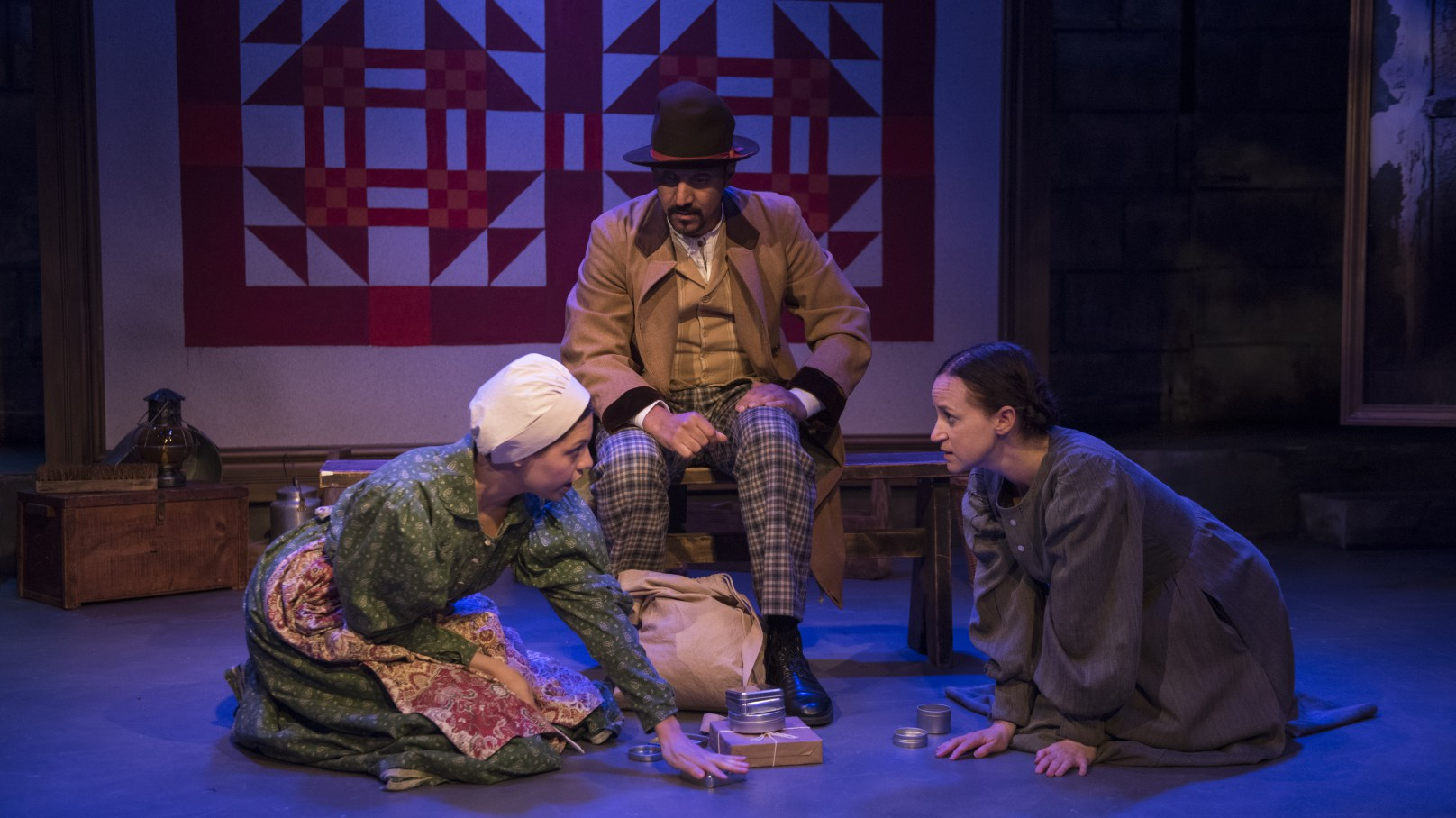 ALIAS GRACE  Rivendell   Pictured (l-r): Ayssette Muñóz, Amro Salama, and Ashley Neal. Photo by Michael Brosilow.
