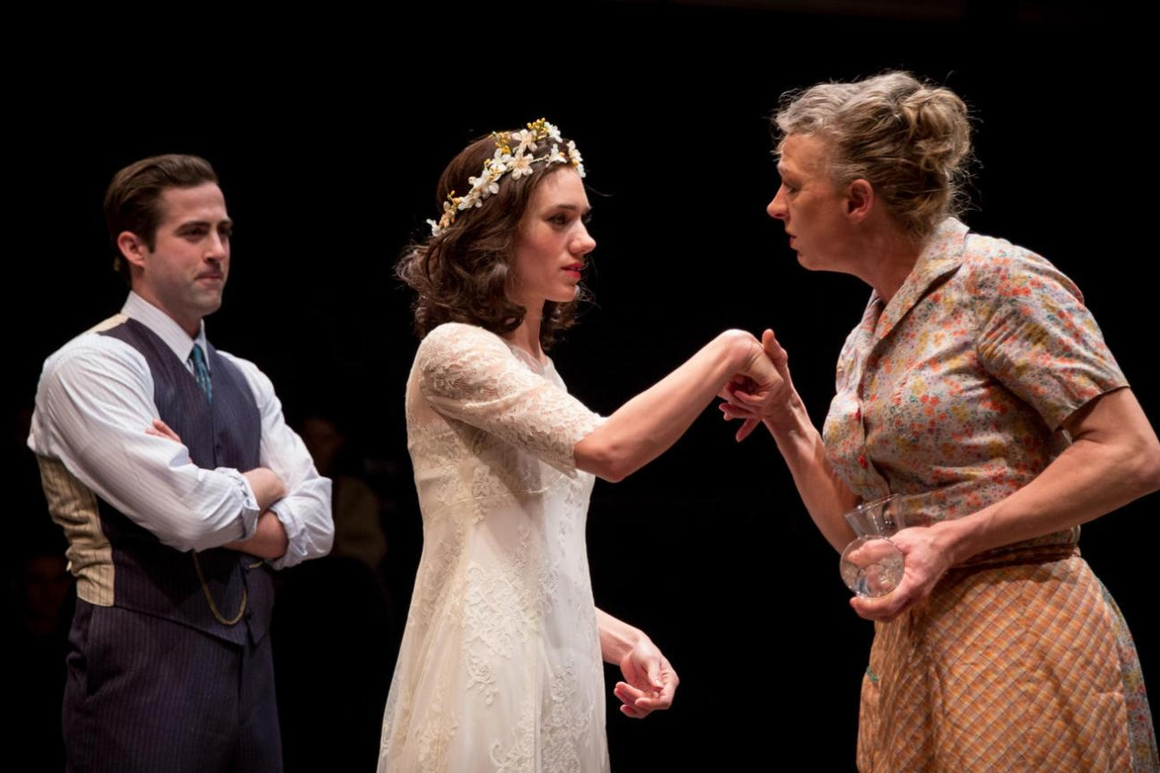"BLOOD WEDDING  Lookingglass   (Chance Bone, Helen Sadler and Eva Barr in ""Blood Wedding"" at Lookingglass Theatre. Photo by Liz Lauren)"