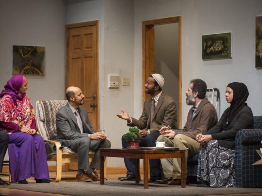YASMINA'S NECKLACE  Goodman Theatre   Pictured: Laura Crotte, Amro Salama, Allen Gilmore, Rom Barkhordar and Susaan Jamshidi