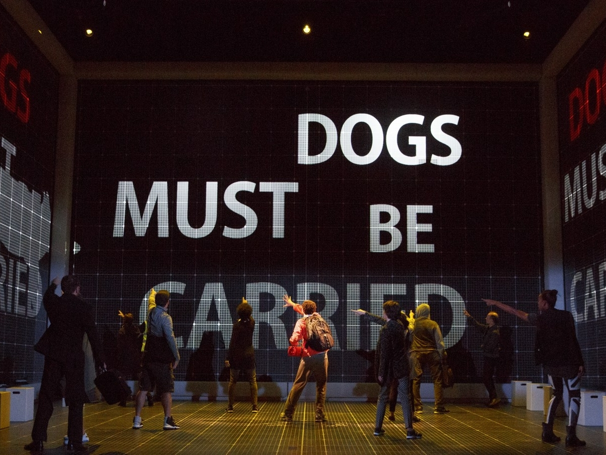 """CURIOUS INCIDENT OF A DOG IN THE NIGHTTIME   Pictured: Ensemble of """"Curious Incident of a Dog in the Nighttime"""" National Tour at the Oriental Theater"""