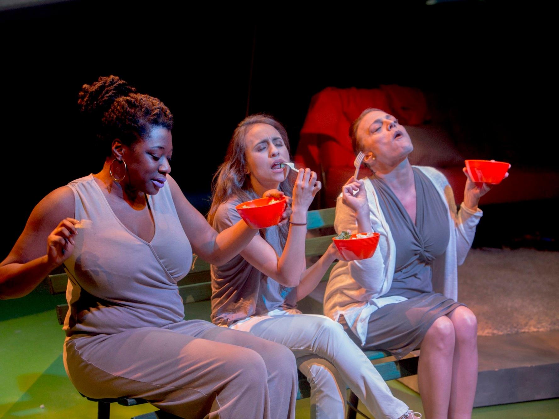 WOMEN LAUGHING ALONE WITH SALAD  Theater Wit   Echaka Agba, Daniella Pereira and Jennifer Engstrom/Photo: Charles Osgood