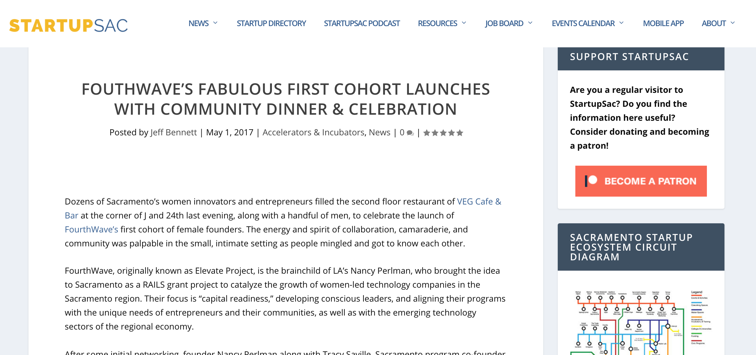 FOURTHWAVE'S FABULOUS FIRST COHORT LAUNCHES WITH COMMUNITY DINNER & CELEBRATION - Startup Sac, May 2017