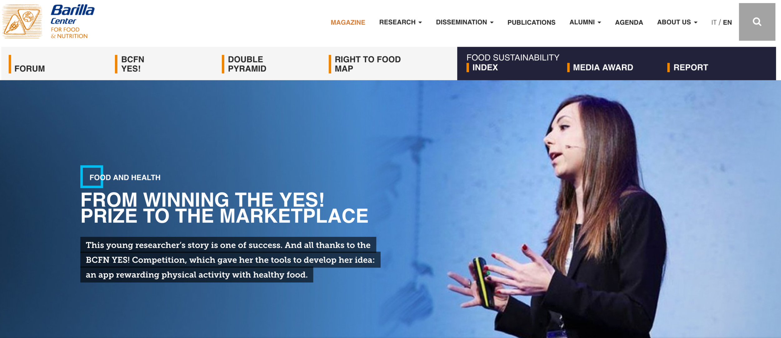 from winning the yes! prize to the market place - Barilla Center Food Nutrition, September 2016