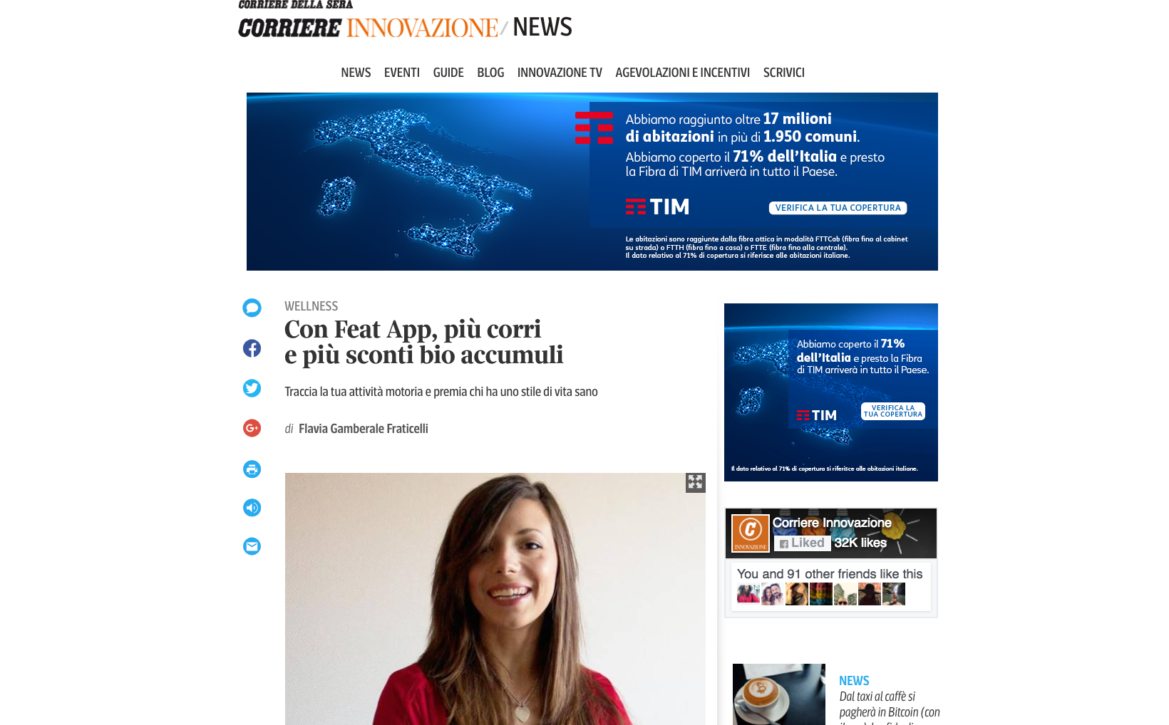 CON FEAT APP, PIù CORRI E PIù ACCUMULI SCONTI BIO - Il Corriere della Sera, September 2015