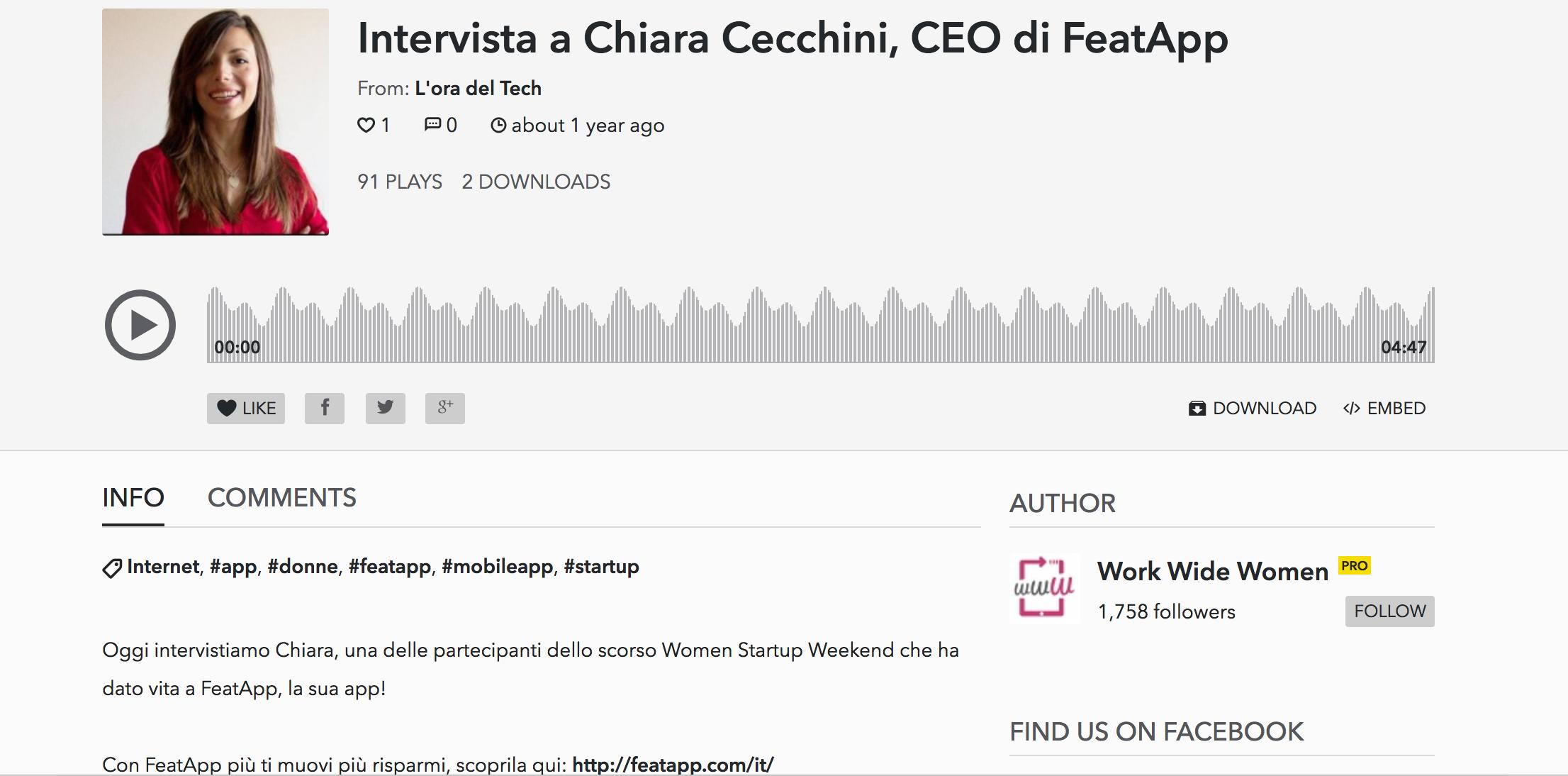 Interview with Chiara cecchini - World Wide Women, July 2016