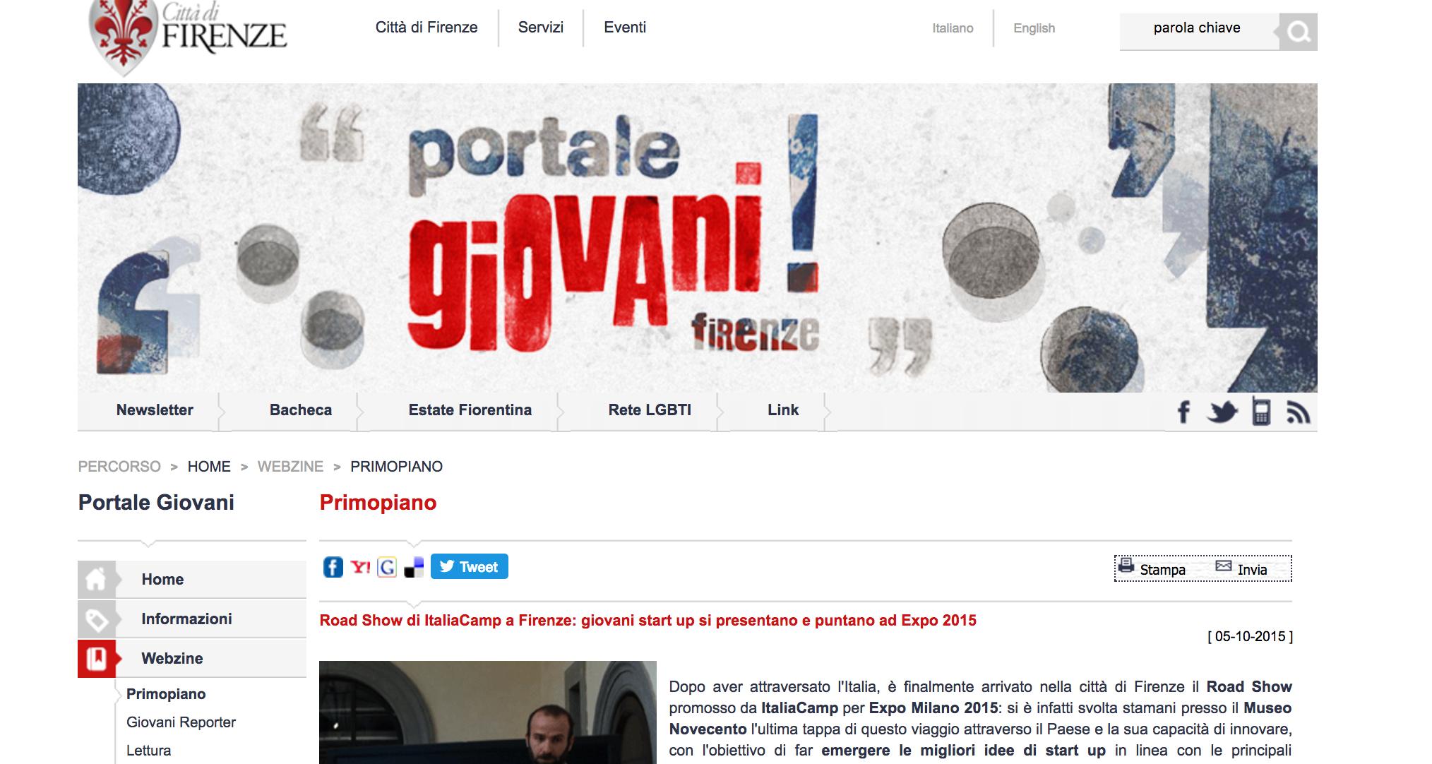 Road Show di ItaliaCamp a Firenze: giovani start up si presentano e puntano ad Expo 2015 - Portale Giovani, Comune di Firenze, Ottobre 2015
