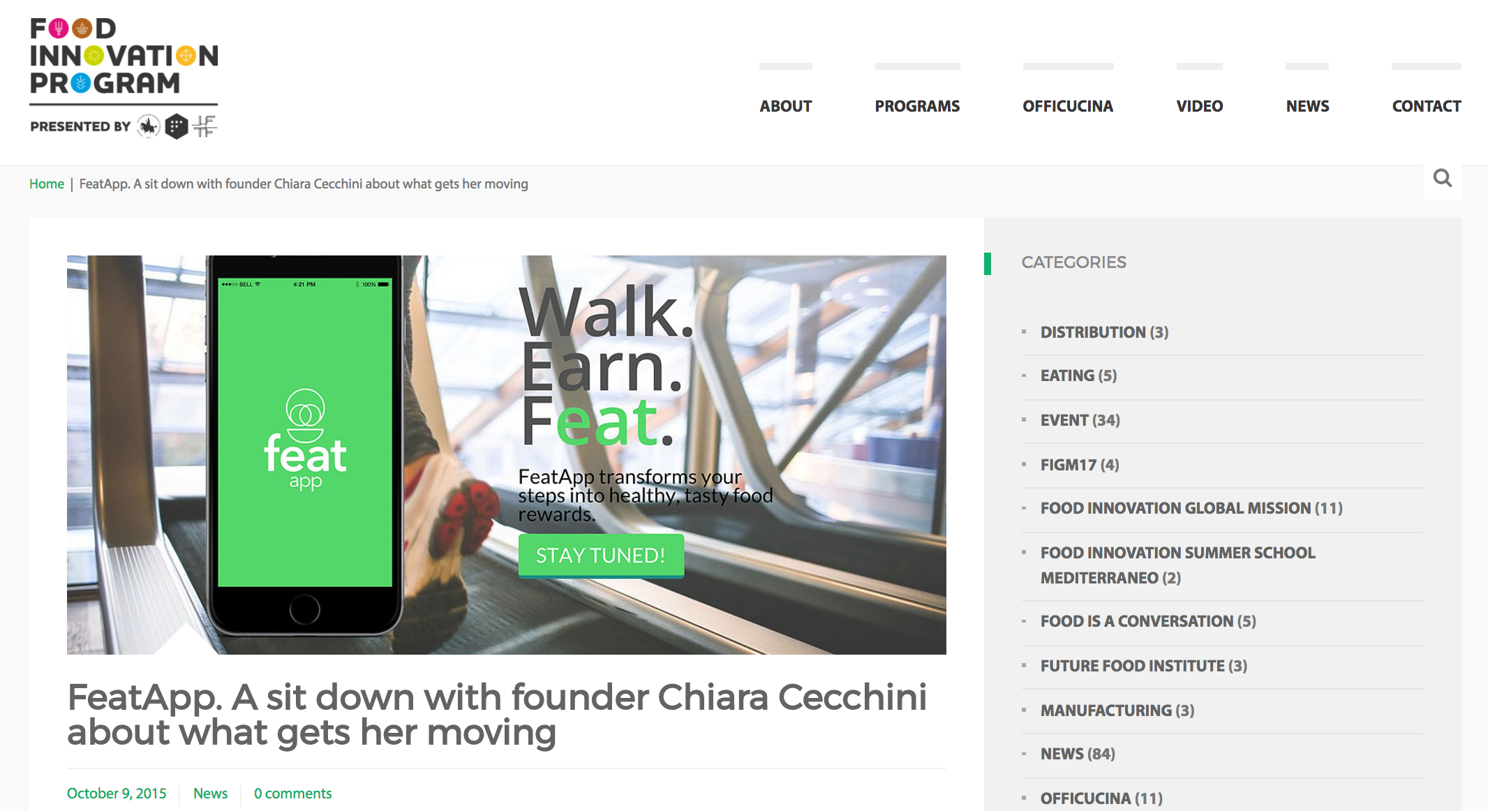 featapp. a sit down with founder chiara cecchini about what gets her moving - Food Innovation Program, October 2015