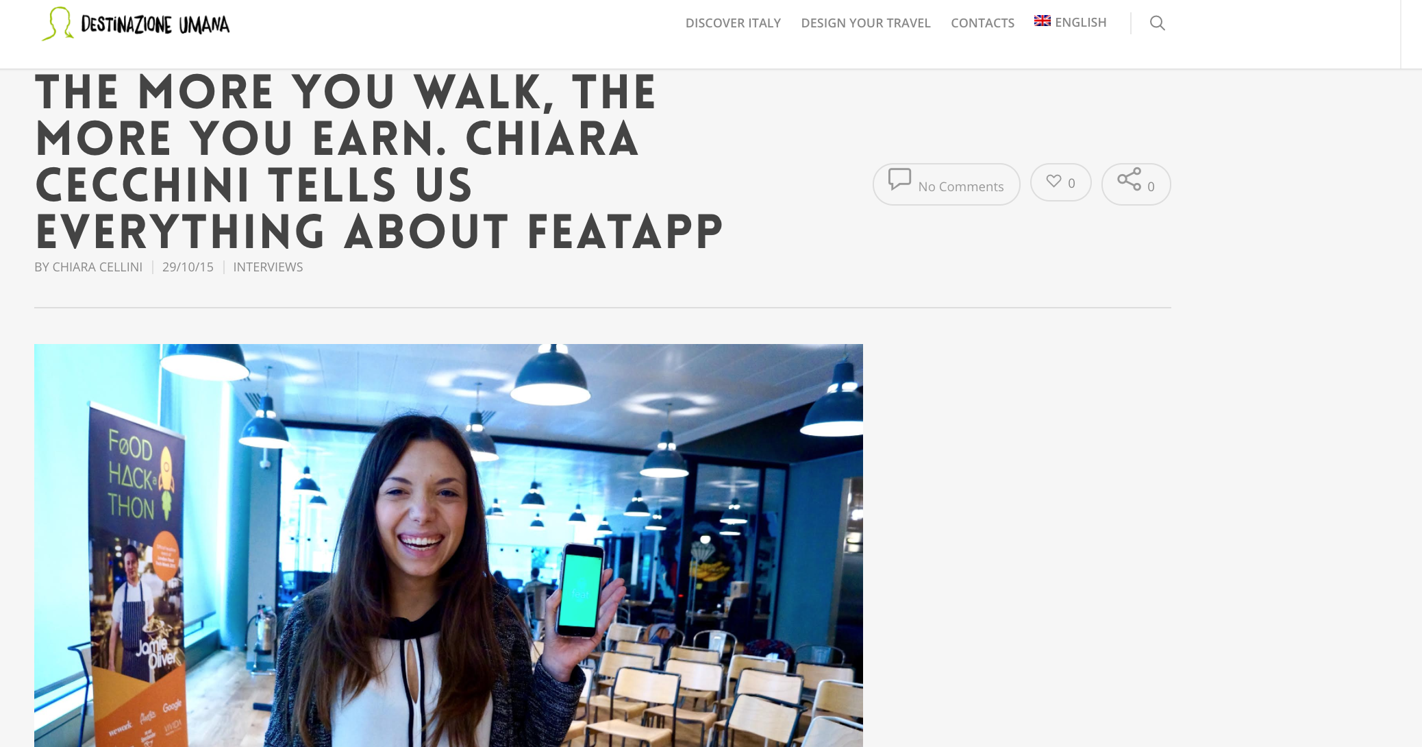 THE MORE YOU WALK, THE MORE YOU EARN. CHIARA CECCHINI TELLS US EVERYTHING ABOUT FEATAPP - Human Destination, October 2015