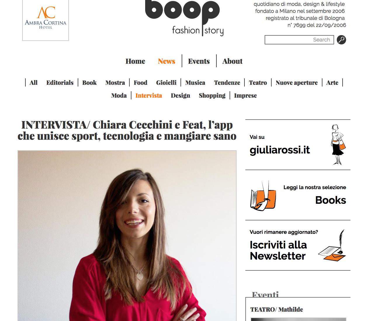 chiara cecchini e feat, l'app che unice sport, tecnologia e mangiare sano - Boop, October 2015