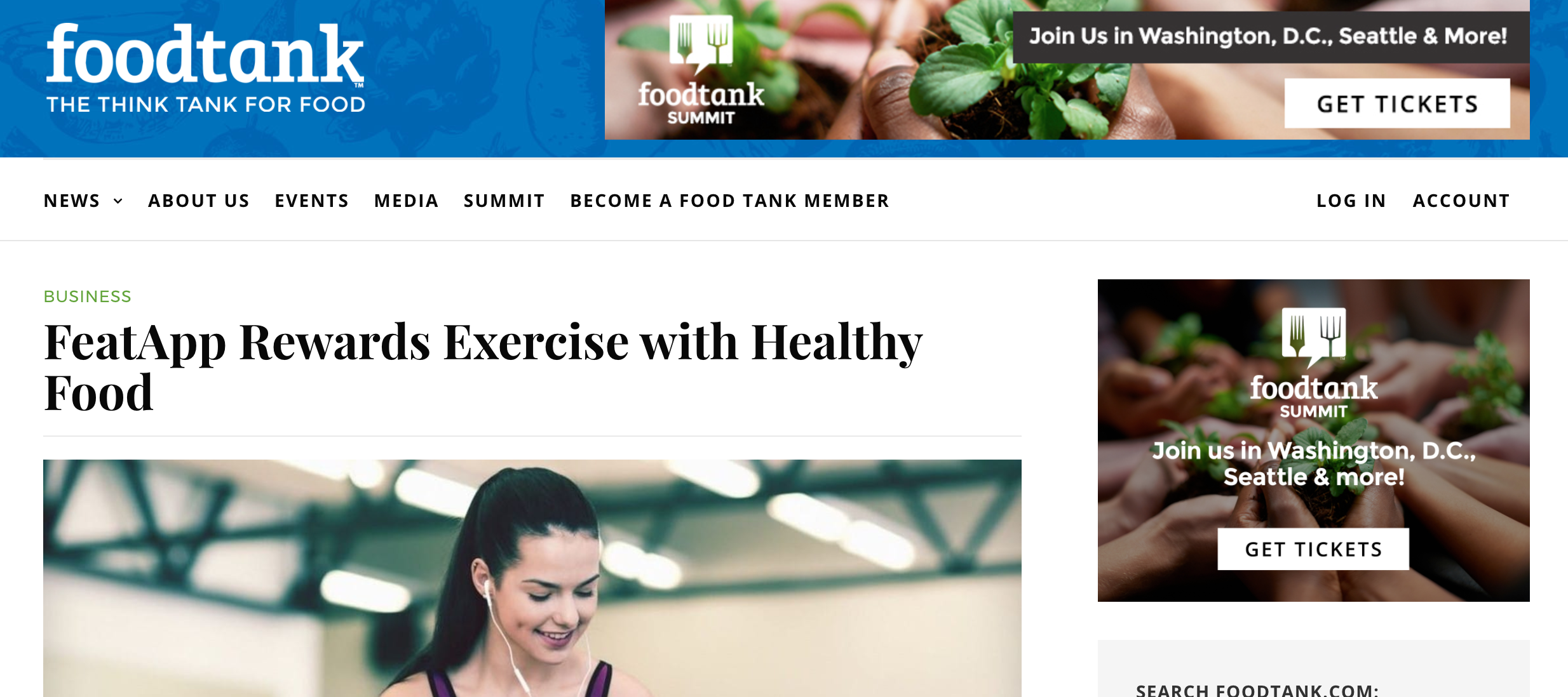 FeatApp Rewards Exercise with Healthy Food - Food Tank, January 2016