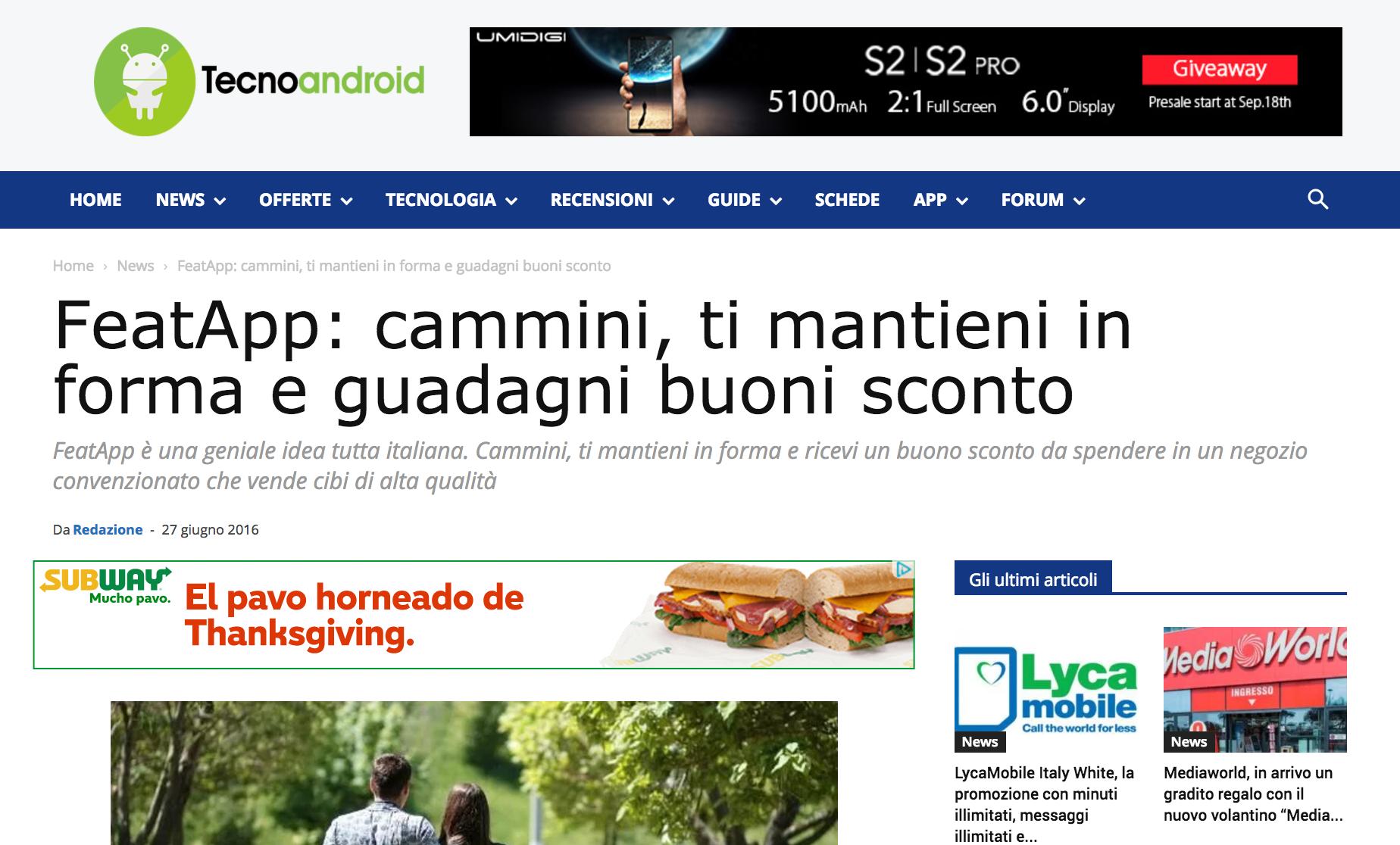 featapp: cammini, ti mantieni in forma e guadagni buoni sconto - TecnoAndroid, June 2016