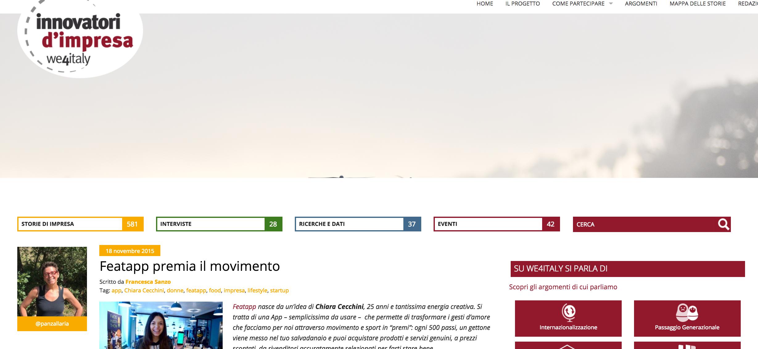 featapp premia il movimento - Innovatori d'Impresa, November 2015
