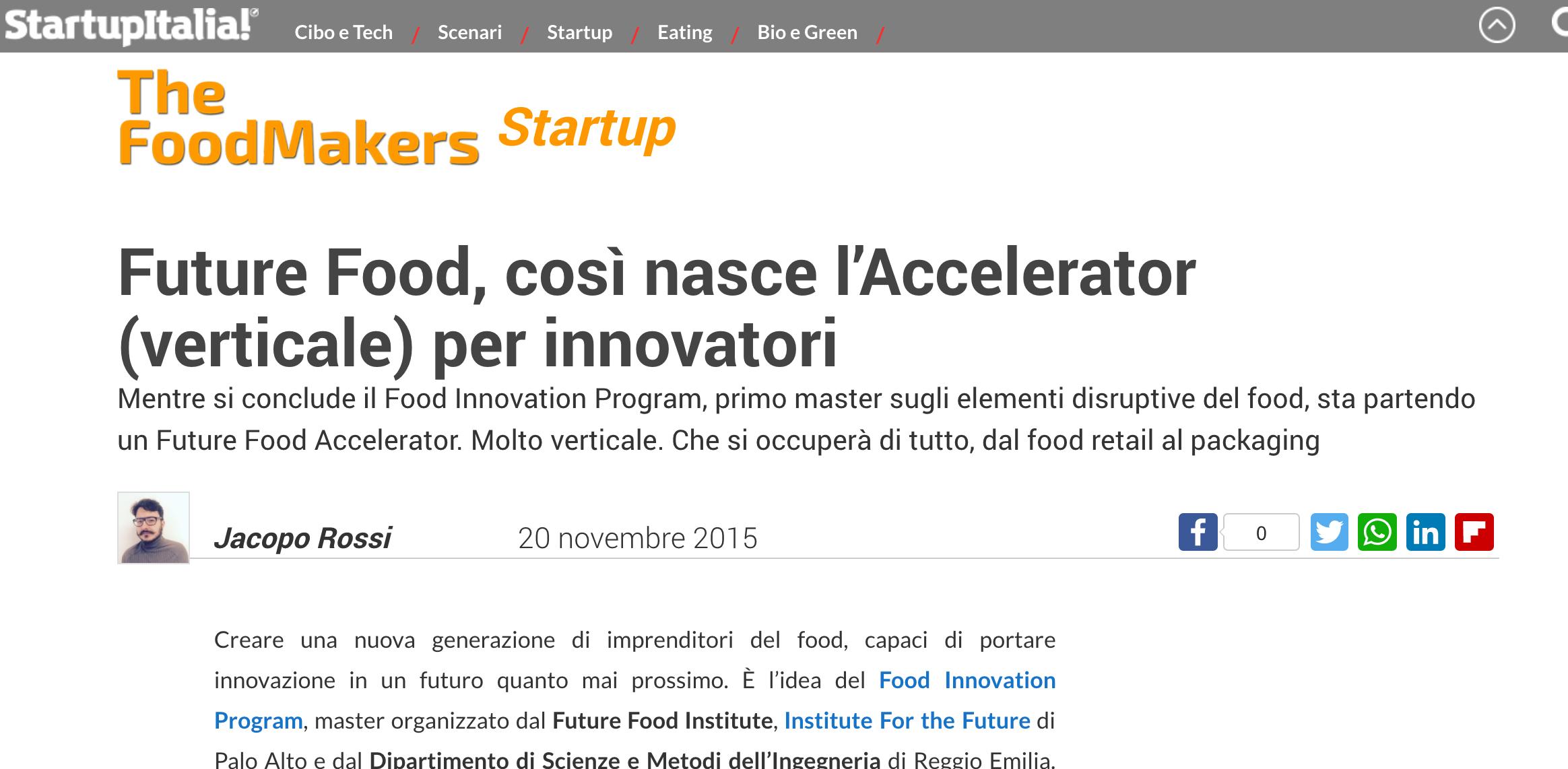 Future Food, così nasce l'Accelerator (verticale) per innovatori - StartupItalia!, November 2015