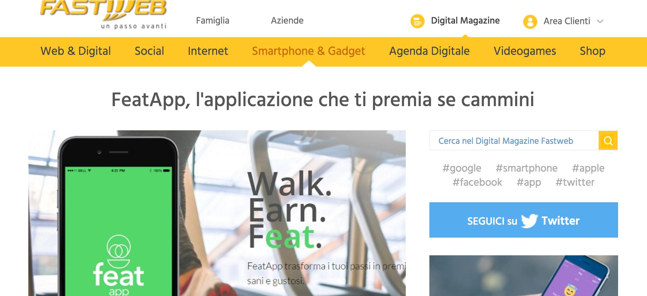 featapp, l'applicazione che ti premia se cammini - Fastweb, June 2016