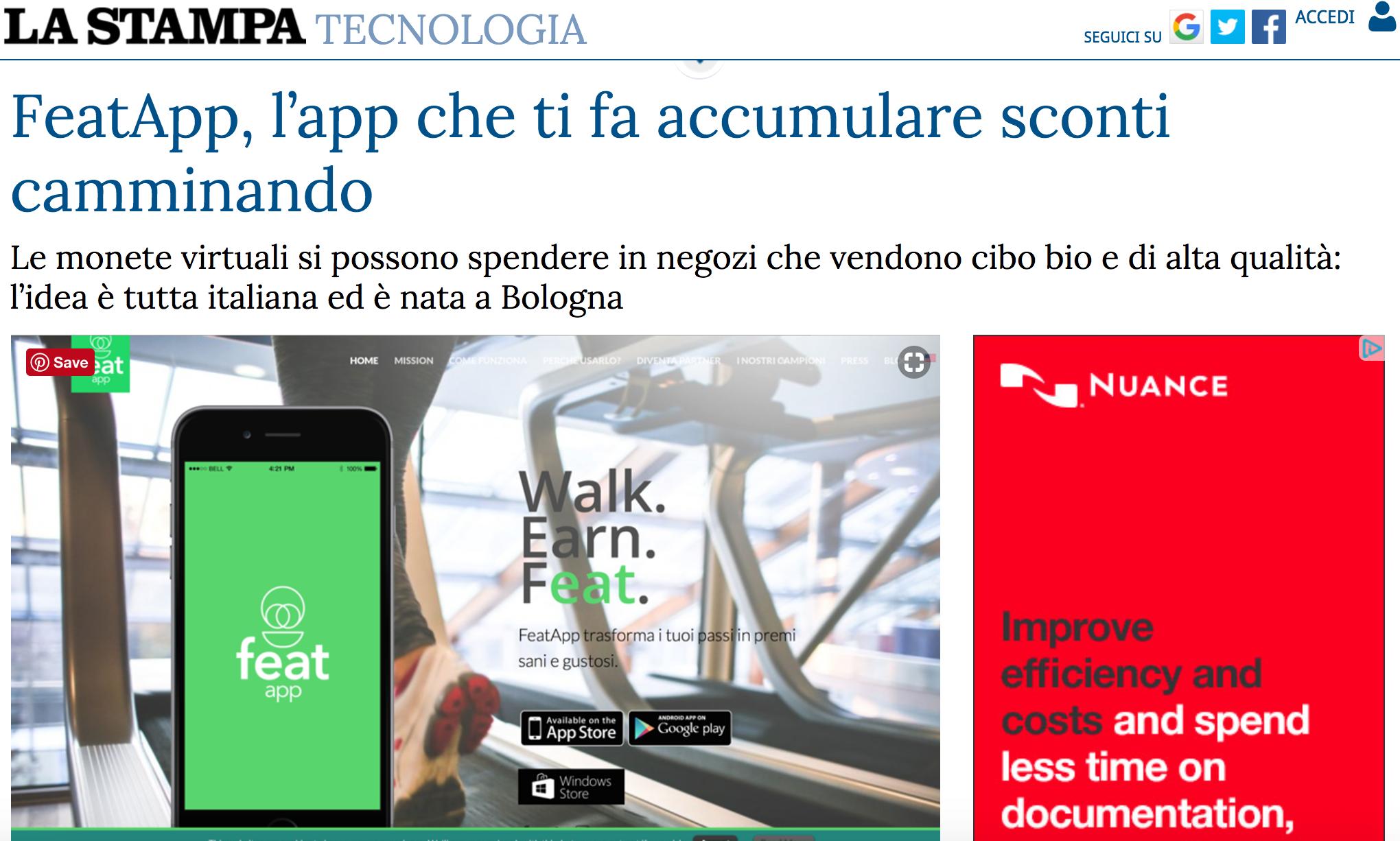 featapp, l'app che ti fa accumulare sconti camminando - La Stampa, June 2016