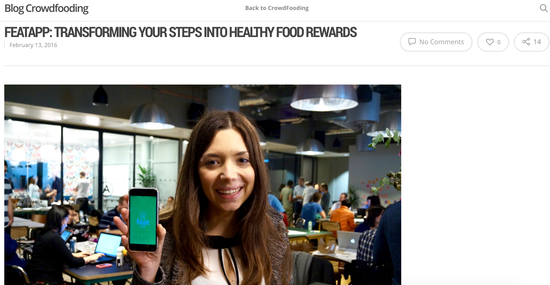 featapp: transforming your steps into healthy food rewards - Crowdfooding, February 2016