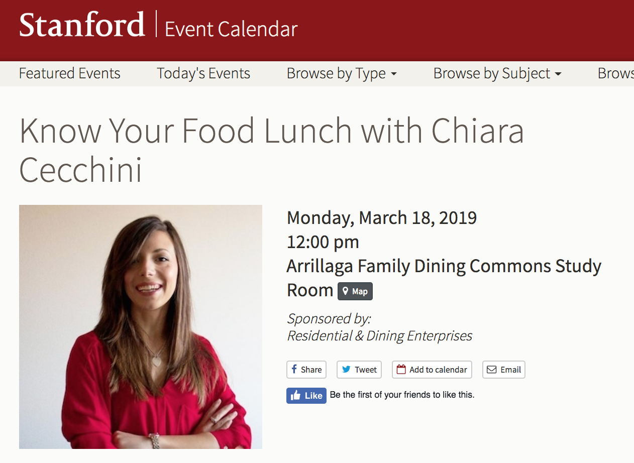 KNOW YOUR FOOD LUNCH - Stanford University, March 2019