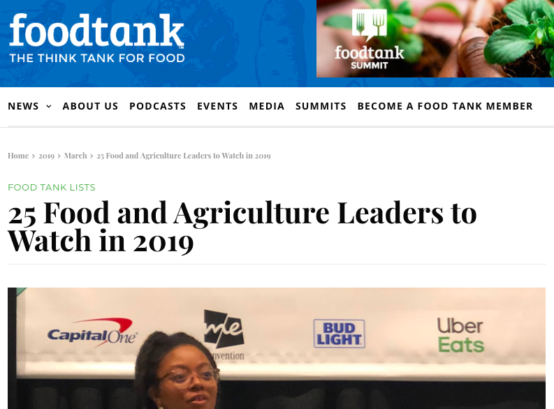 25 Food and Agriculture Leaders to Watch in 2019 - Food Tank, March 2019