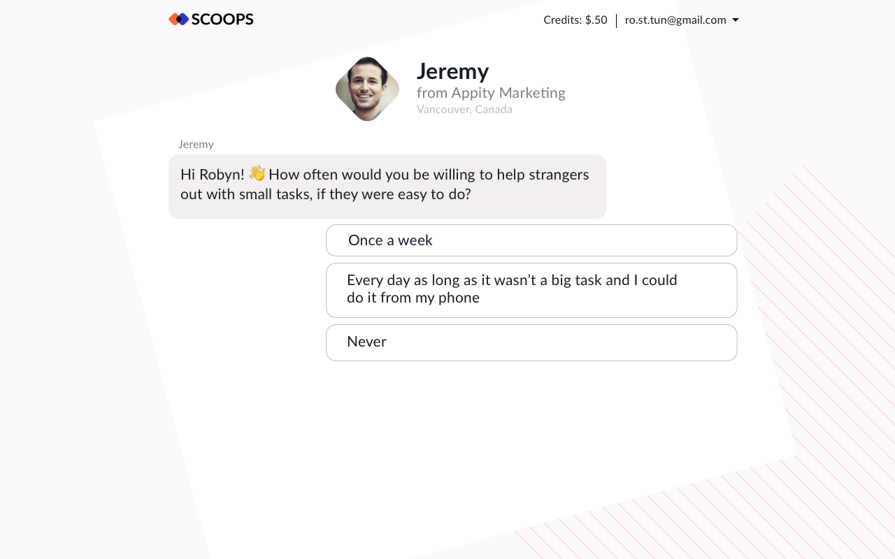 "Instead of no-name corporation trying to mine your data, we positioned it as ""Jeremy from Vancouver asking for your help."" That's how we got the great data and kept the respondent hanging around for any subsequent questions or interviews"