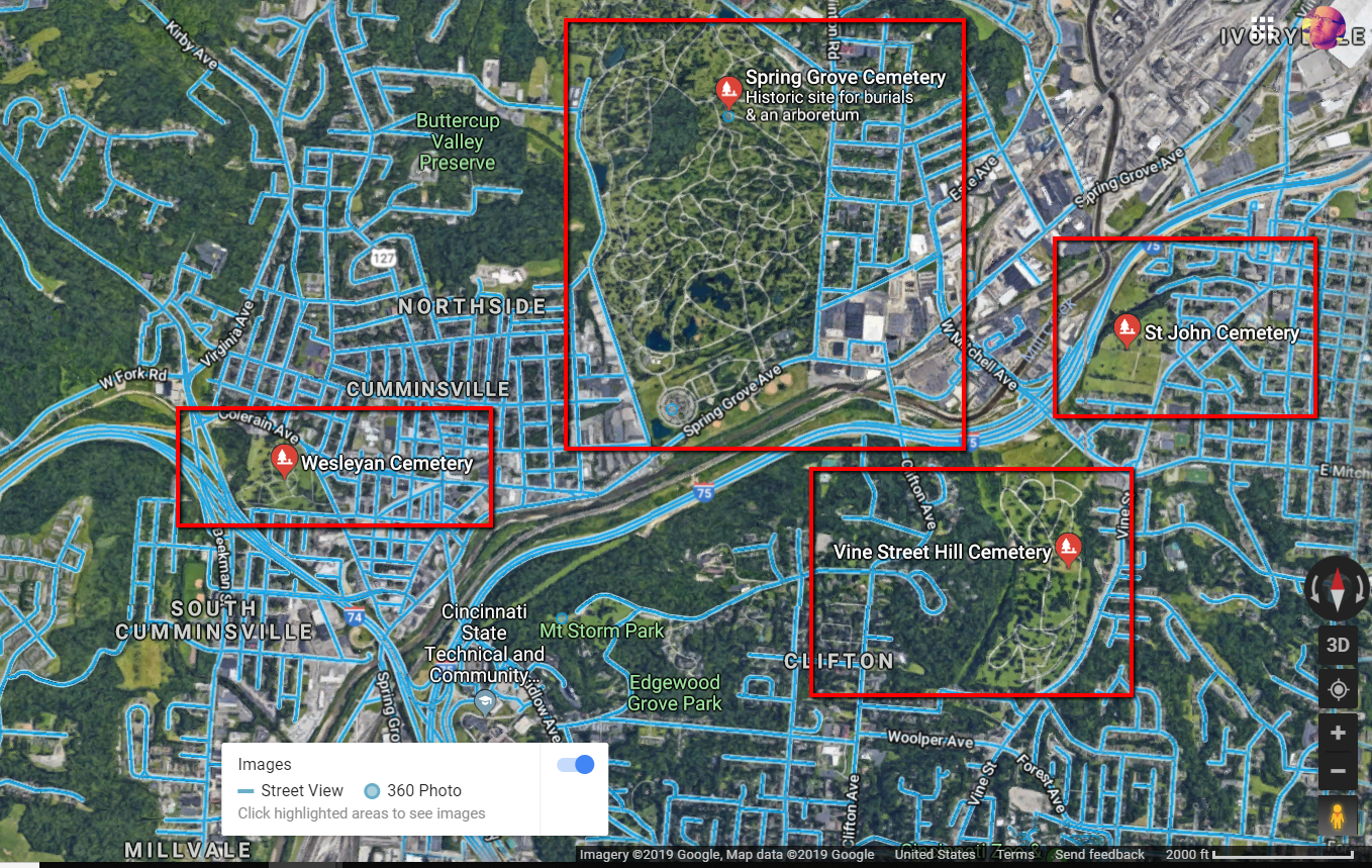 Blue lines indicate where Google Street View imagery exists.