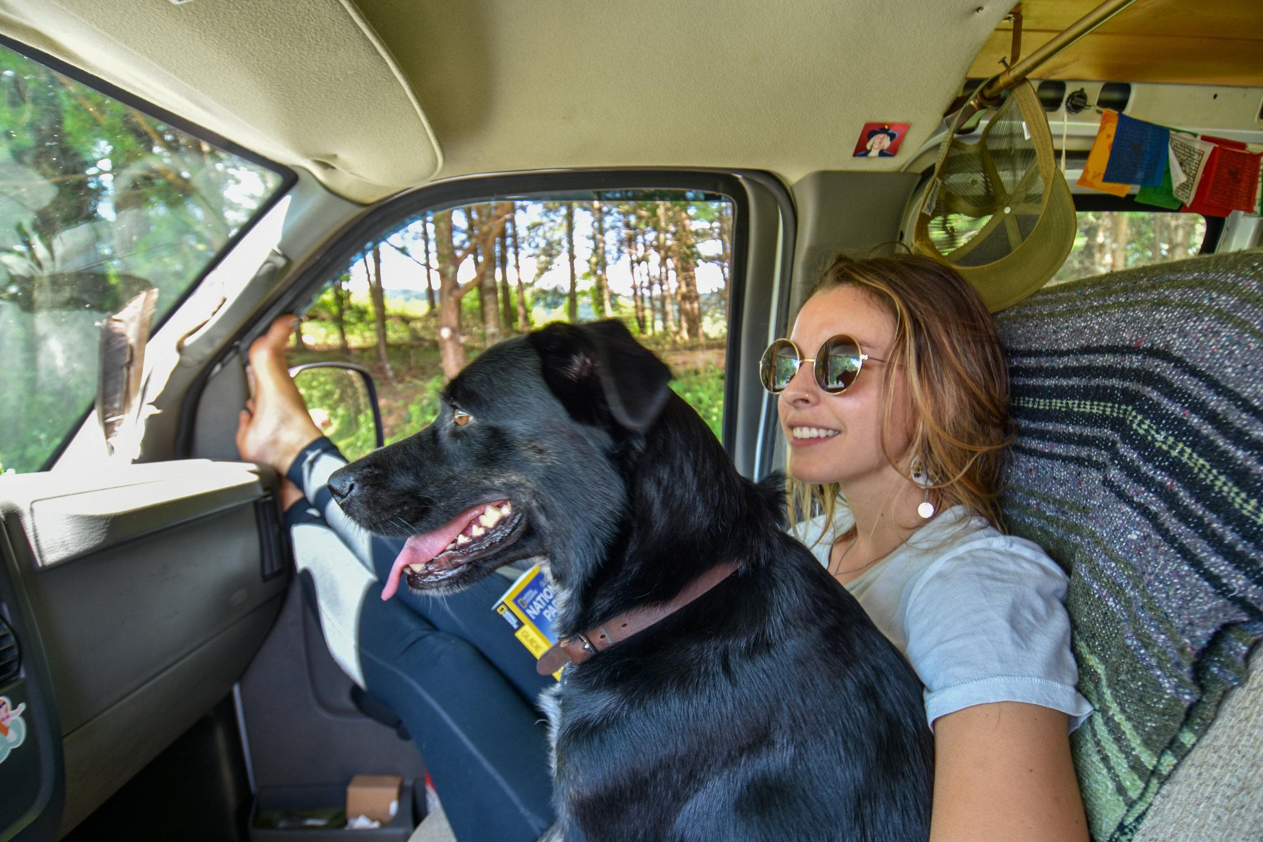 Cass and Roscoe enjoying the ride through GSMNP