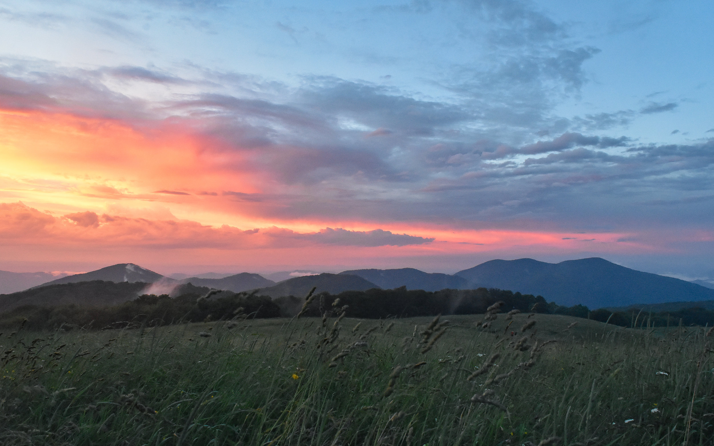The surrounding storms made for a spectacular sunset at Max Patch.