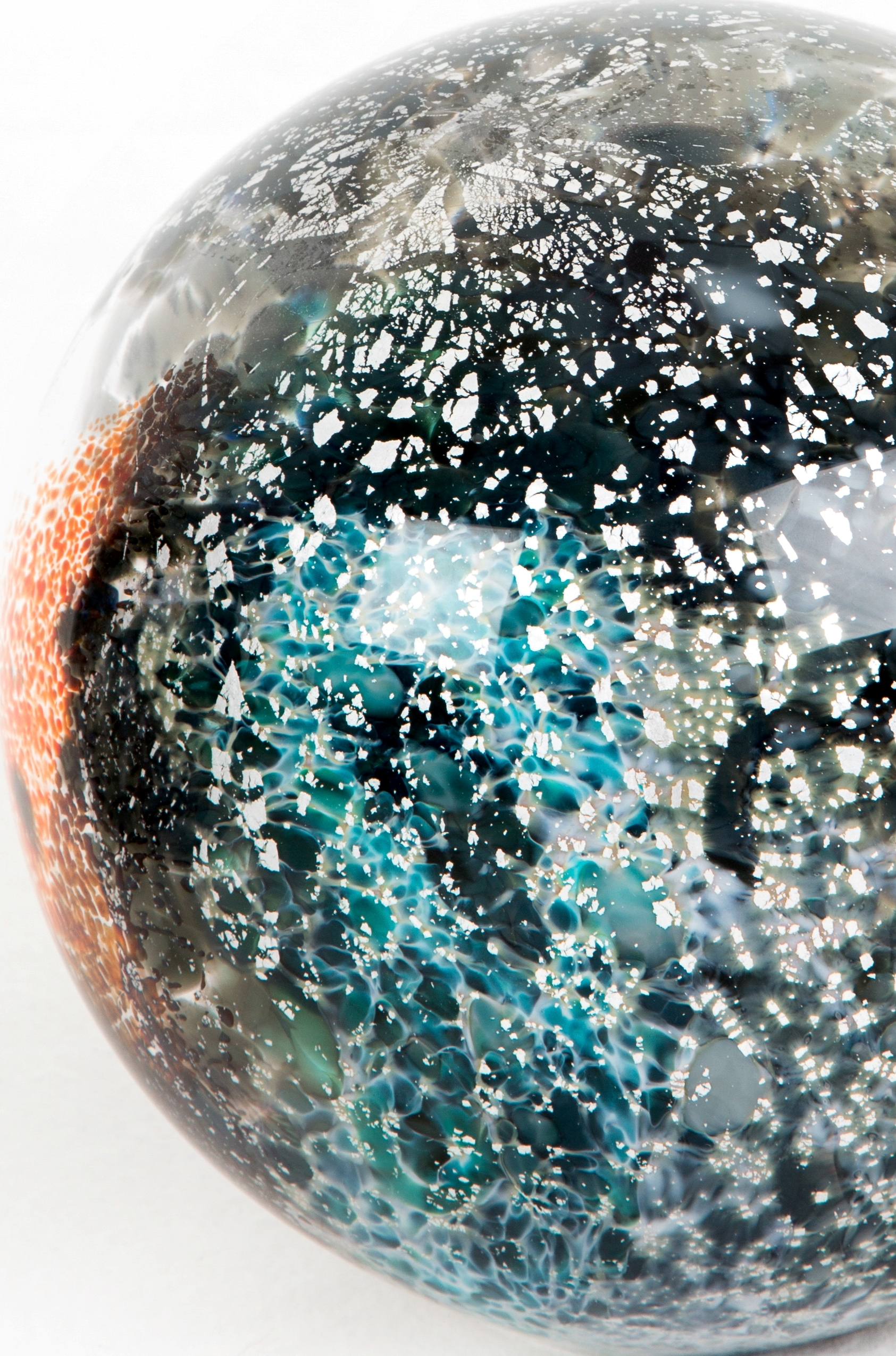 Spacial Planet Blown glass and silver leaf