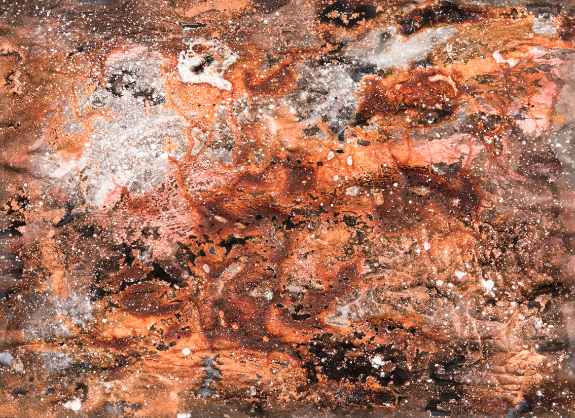 Molten Surface II, mixed media on paper, 40 x 58cm
