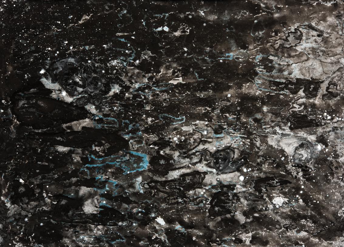 Dark Turbulence, mixed media on paper, 42 x 59cm