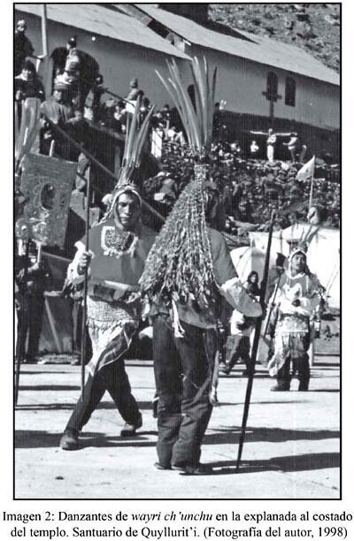 With feather headdresses and long pijuayo staffs, the Wayri Ch'uncho dancers are an Andean representation of Amazonians. Photograph and original caption by  Guillermo Salas Careño .