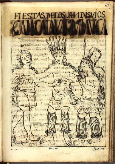 """ Fiestas de los Andisuios "" – Writing between 1600-1615, the chronicler Guaman Poma de Ayala described festivals of the Antis and Ch'unchos of the Amazon to the east of Inka Cusco. His drawing shows obvious parallels to the feathered headdresses of contemporary Ch'uncho dancers. In the accompanying text he makes mention of "" auca warmi "" or warrior women. Tales of female warriors also are said to have led to the Spanish naming of the Amazon River."
