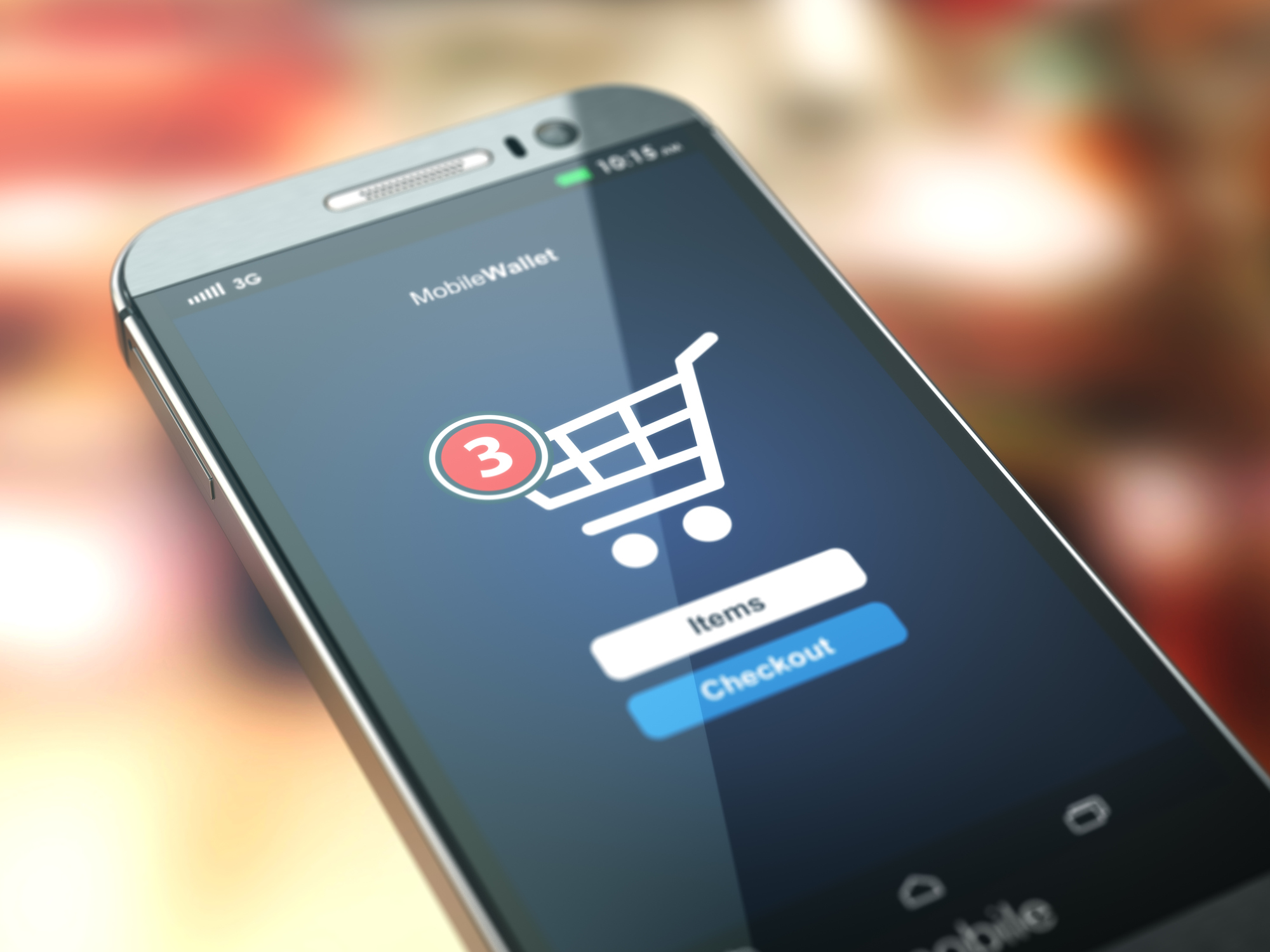 Smart phone displaying a ecommerce shopping site with 3 items in the cart.