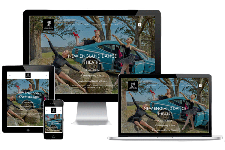 New England Dance Theatre website displaying on different devices demonstrating its responsive web design.